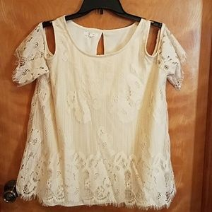 Maurice's size 0 ivory lace off the should top